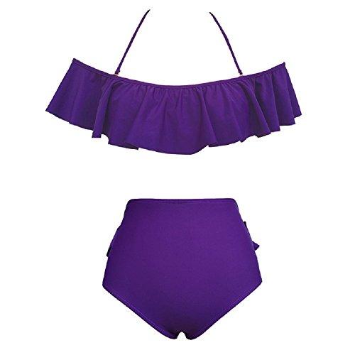 Bslingerie - Conjunto - para mujer Purple - Halter