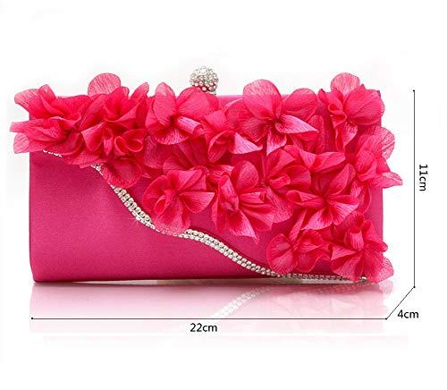 Et Luxe Femme 9x4inch d'autres Incrusté Parti Main Sacs Soirée Sac Diamants de pour de Pochette fériés soirée Fashion Bal à Fleur élégante 22x11cm de soirée Jours D C dF0nx8R8wq