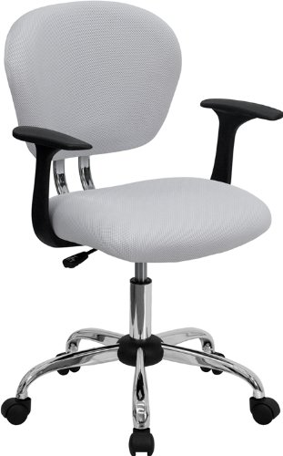 Flash Furniture Mid-Back White Mesh Padded Swivel Task Office Chair with Chrome Base and Arms