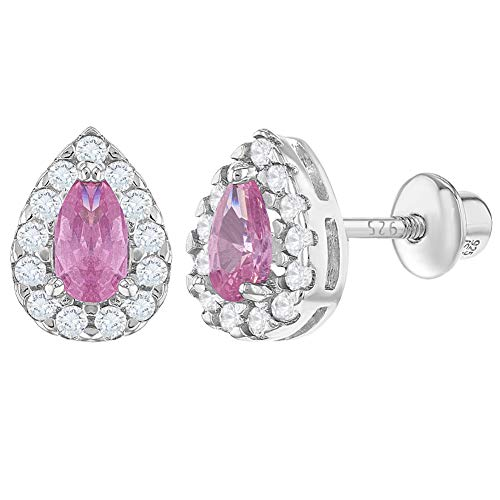 925 Sterling Silver Pink Clear CZ Tear Screw Back Safety Earrings for Girls
