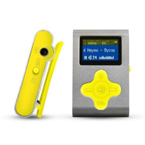 """Eclipse Fit Clip SL/YW 4GB 1"""" MP3 Player (Silver/Yellow)"""