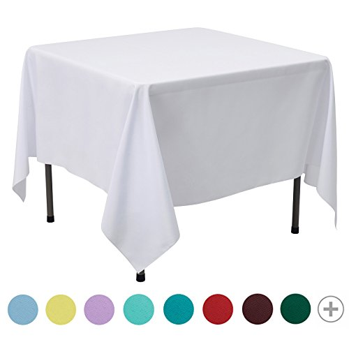 VEEYOO 85 inch Square Solid Polyester Tablecloth for Wedding Restaurant Party Coffee Shop Picnic Christmas, (Spring Potluck Themes)