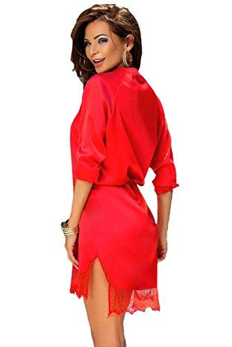 Neuf pour femme Rouge en satin et dentelle Chemise Robe mini robe de soirée d'été robes Taille L UK 12EU 40