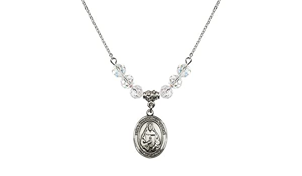 18-Inch Rhodium Plated Necklace with 6mm Crystal Birthstone Beads and Sterling Silver Saint Theodora Charm.