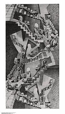 House of Stairs by M.C. Escher Fantasy Art Print Poster, Overall Size: 17.75x31.25, Image Size: 14.5x28.5