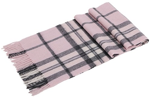Cashmere Scarf Winter Wool Wraps Shawls Stole Scarf w/ Gift Box, Pink/Grey Plaid ()