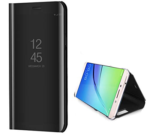 Annymall Case for Galaxy Note 9, Luxury Translucent View Window Front Cover Mirror Screen Flip Smart Electroplate Stand Full Body Protective Cover for Samsung Galaxy Note 9 (Black)]()