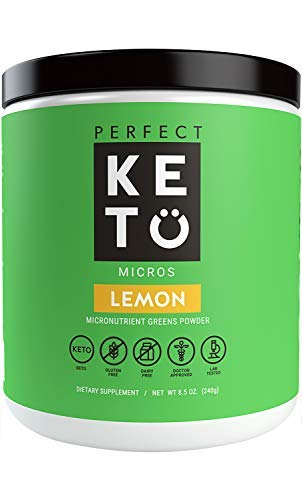 Perfect Keto Greens Superfood Powder: Super Micro Green Drink & MCT Oil, Best as Low Carb Ketogenic Diet Supplement for Ketosis, Amazing for Ketones and Athletic Diets (Lemon) by Perfect Keto