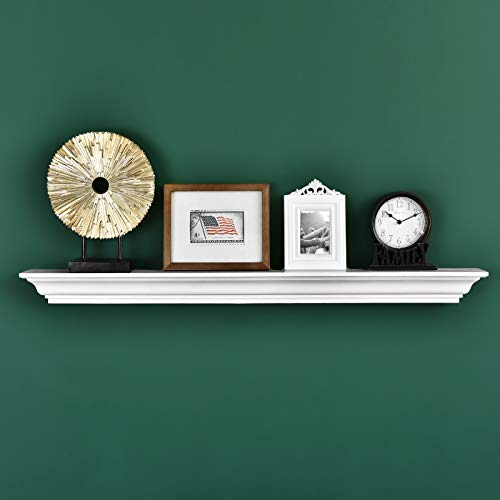Jefferson Crown Molding Floating Wall Photo Ledge Shelves Fireplace Mantel Shelf (48-Inch, White)