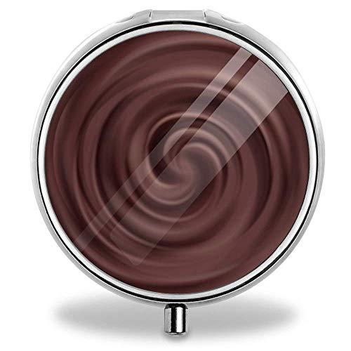 - New Silver Round Pill Box Decorative Metal Medicine Vitamin Organizer Unique Gift (Chocolate Swirl)