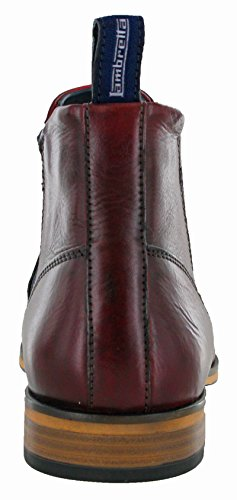Lambretta Mens Moorgate Lace Up Leather Durable Chelsea Ankle Boots Bordo Cow