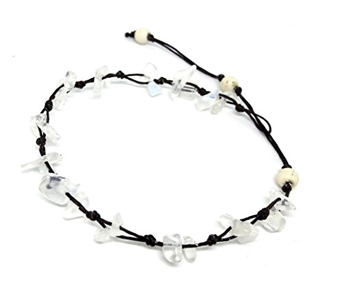 - LAVIP Leather White Moonstone Color Bead Anklet. Beautiful 26 Centimeters Handmade Stone Anklet