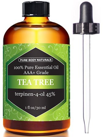 Tea Tree Oil, Highest Quality Triple AAA+ Grade Tea Tree Essential Oil, 45% terpenin-4-ol (Australia) 100% Pure and Authentic, 1 fl. Oz – Pure Body Naturals