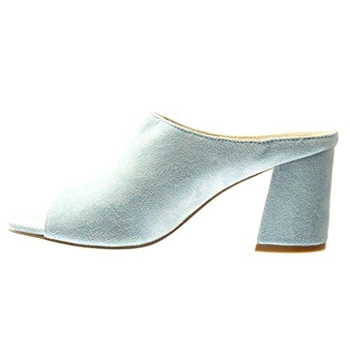 Angkorly - Zapatillas de Moda Mules Sandalias mujer Talón Tacón ancho alto 8.5 CM - Azul