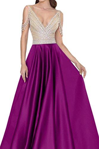 de Fiesta satén Mujer rueckenfrei Prom Vestido vestido ivyd para ressing fucsia recorte fijo noche V piedras vestido de Z850wq