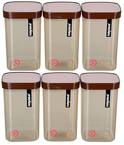 Nayasa Superplast Plastic Fusion Containers 1000ml, Set of 6, Brown Price & Reviews