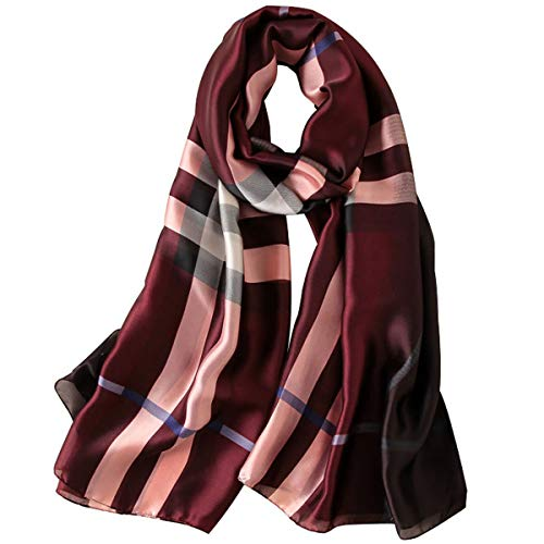 K-ELewon Silk Scarf Fashion Scarves Long Lightweight Sunscreen Shawls for Women (T09) -