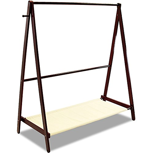 Jerry & Maggie - Garment Rack Cloth Rack Natural Sturdy Wood Coat Rack Clothes Hanging System Laundry Drying With Bottom Shelves | Foldable / Collapsible / Luxury by Jerry & Maggie (Image #7)