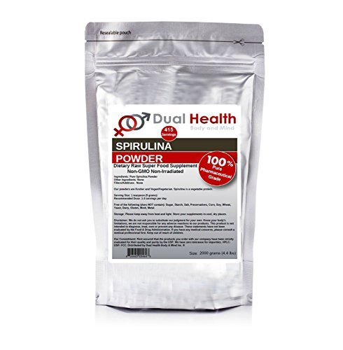 Pure Spirulina Powder (2kg (4.4 lbs)) Protein Superfood Bulk Supplements by Dual Health Body & Mind