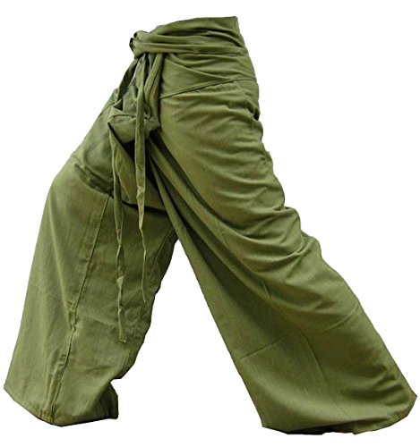 Thai Yoga Pants Fisherman Trousers Relaxation Wear Around the House Plus Size Color Solid Olive.