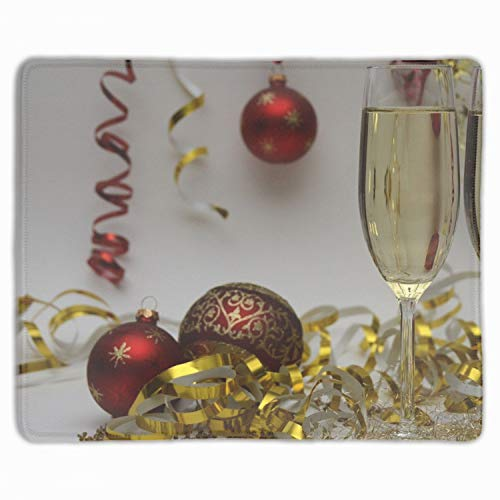Standard Size New Years Eve Champagne Drinks Custom Professional Gaming Mouse Pad - Anti Slip Rubber Base - Stitched Edges - Large Desk Mat - 11.8x9.84x0.12