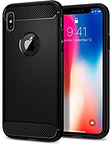 M&J iPhone X Rugged Armor cover/case - Matte Black with Carbon Fiber textures