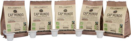 Organic and Compostable Nespresso Compatible BPA-free Coffee Capsules – Fair Trade, Dark Roast – CapMundo Paris, French Artisanal Espresso (Combawa, 50 Pods for OriginalLine Machines)