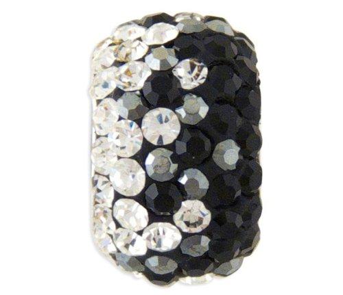 Style Pandora avec perle en cristal noir et blanc