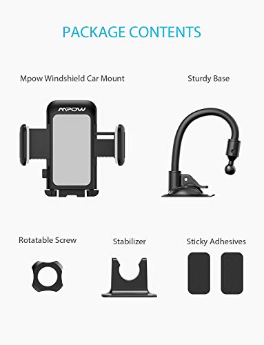 Mpow 033AH Cell Phone Holder for Car, Windshield Long Arm Car Phone Mount with One Button Design and Anti-Skid Base Car Holder Compatible iPhone XS MAX/XS/XR/X/8/7/7P/6s, Galaxy S6/S7/S8,Google,Huawei by Mpow (Image #5)