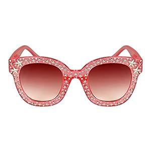 Edge-I-Wear Cat Eye Round-shaped Rhinestone Sunglasses w/Stars and Flat Color Lens ECS700R-FLREV-7(CL.PK.rap)