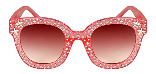 Edge-I-Wear Cat Eye Round-shaped Rhinestone Sunglasses w/Stars and Flat Color Lens - Eye Sunglasses W