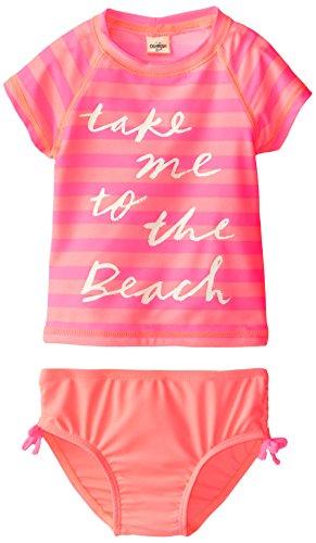 Osh Kosh Little Girls' Toddler Take Me To The Beach Rash Guard Set, Pink, 3T