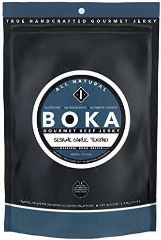 Boka Gourmet All Natural Protein Rich Beef Jerky, NO MSG, Nitrate and Nitrite-Free (Sesame Garlic Teriyaki)
