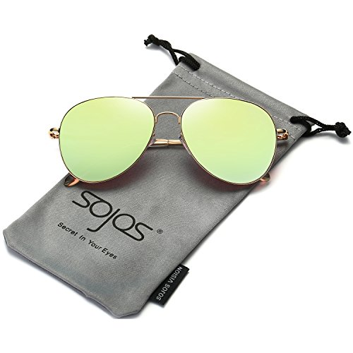 1043eb604a SojoS Classic Aviator Mirrored Flat Lens Sunglasses Metal Frame with Spring  Hinges SJ1030 With Gold Frame