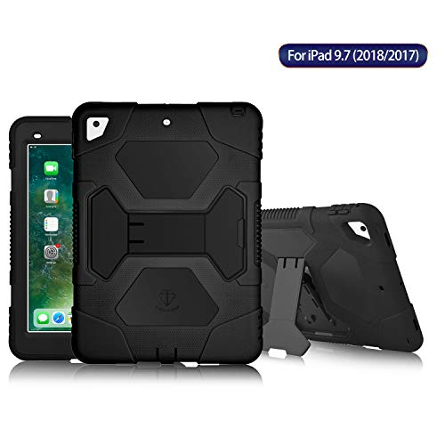 9.7 2017 Case [Impact Resistant] [Shockproof] [Heavy Duty] Full Body Rugged Protective Smart Cover with Kickstand & Dual Layer Design for Apple New iPad 9.7 inch 2017 (Black/Black) ()