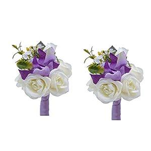 Florashop Fabric Flowers Men's Boutonniere Groom Boutonniere Bridegroom Boutonniere for Wedding Prom Party 2 pcs-Purple Boutonniere 29