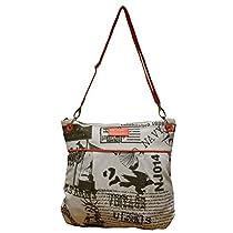 Spice Art White Orange Canvas Sling Bag for Ladies