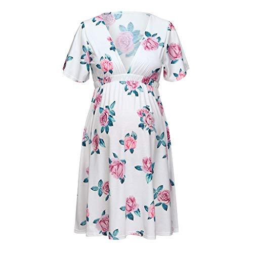 DOMUMY Dresses Maternity Wedding Dress, Women Short Sleeve Pregnant Maternity Dress Flower Maternity  Maternity Dress for Wedding White
