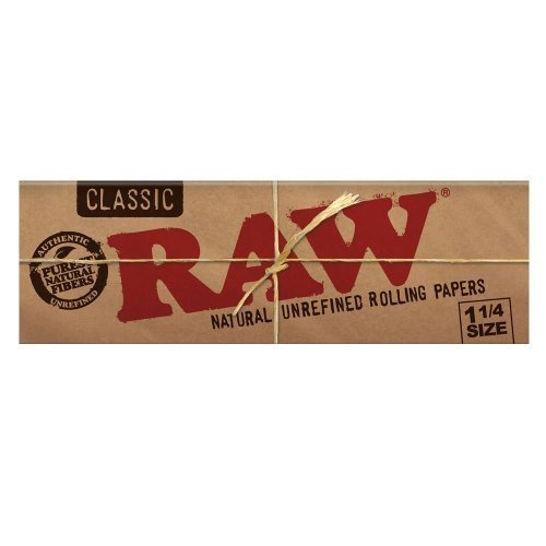 raw unrefined classic 1.25 1 1/4 size cigarette rolling papers, 6 packs