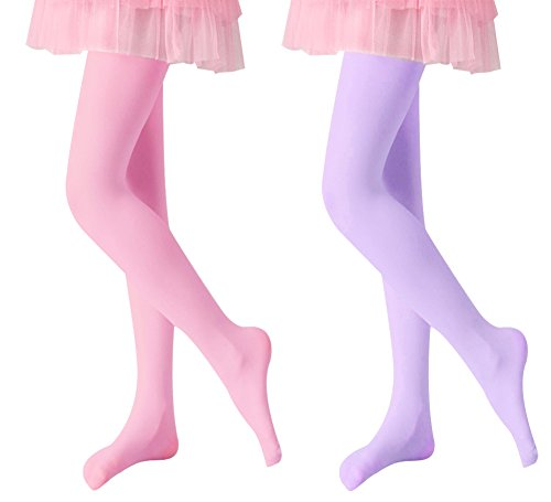 (Loritta 2 Pack Toddler Girls Microfiber Opaque Footed Tights Pantyhose Stockings)