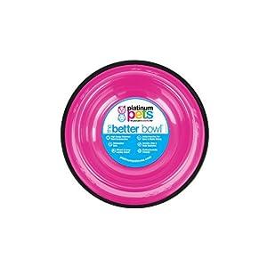 Platinum Pets Non-tip Stainless Steel Dog Bowl, 28 oz, Pink