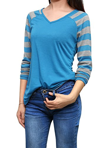 riped Long Raglan Sleeves V Neck T-Shirt S Blue ()