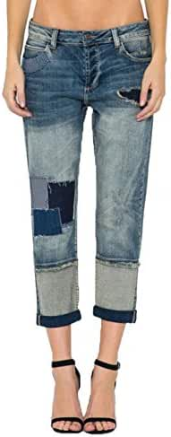Cello Jeans Women's Patchwork Boyfriend Jean