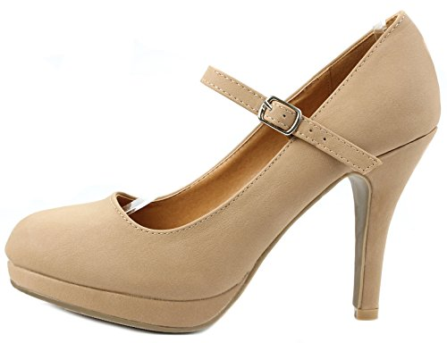 Women Classic Mary-Jane Round Toe Mid Heel Comfort Platform Formal Dress Pumps Tan sTcSG