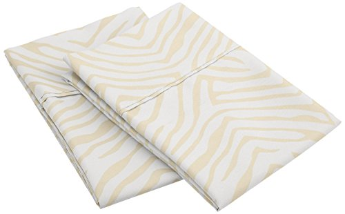 Impressions 1800 Series 100% Brushed Microfiber, Wrinkle Resistant 2-Piece King  Pillowcase Set, Animal Print, Ivory
