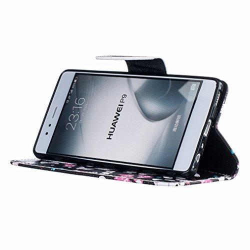 Yiizy Huawei P9 EVA-L09 EVA-L19 EVA-L29 Custodia Cover, Occhiali Gatto Design Sottile Flip Portafoglio PU Pelle Cuoio Copertura Shell Case Slot Schede Cavalletto Stile Libro Bumper Protettivo Borsa