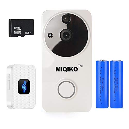 WiFI Wireless Video Doorbell, Full HD 720P Home Security System Doorbell with PIR Motion Detection, Two-Way Talk, Night Vision, 166° Wide Angle, Fits for iOS Android