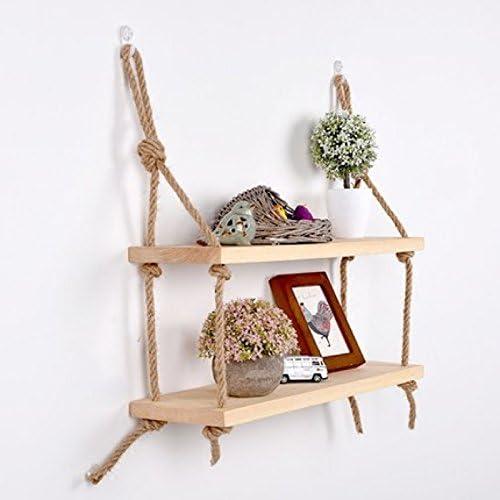 Estante colgante de madera maciza para pared con cuerdas, estilo rústico y clásico, natural, 2 Shelves