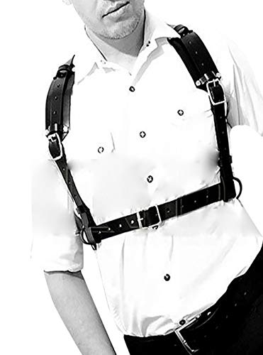 Body Chest Harness Punk Adjustable Faux Leather Belt with Buckles Rings for Men Women(LM02)