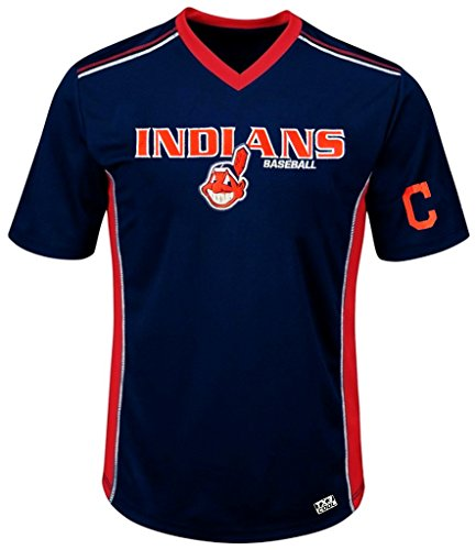 VF Cleveland Indians MLB Mens Cool Base Performance V Neck Jersey Navy Blue Big Sizes (4XL)